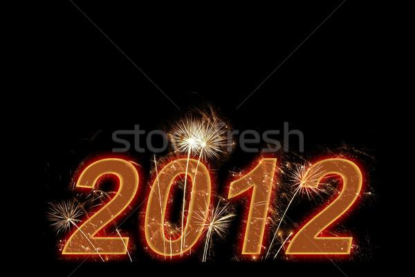 Mutlu yeni 2012 yıl kartpostal havai fişek Stok fotoğraf © vapi