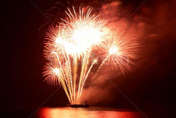 Stock fotó: Tűzijáték · fekete · égbolt · absztrakt · fény · háttér