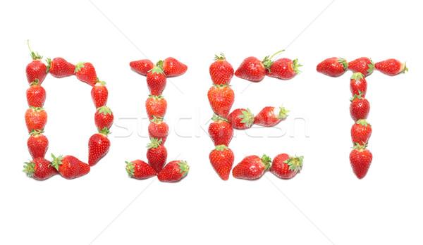 Diéta szó eper egészség ábécé étel Stock fotó © vapi