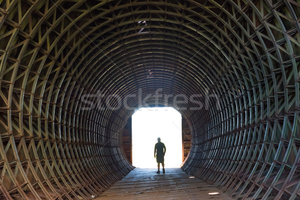Silhouette of a man in the end of tunnel Stock photo © vapi