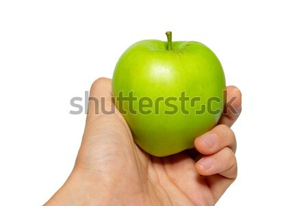 Green tasty apple in a hand isolated on white. Stock photo © vapi