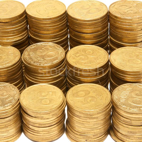 Or pièces isolé blanche argent Photo stock © vapi