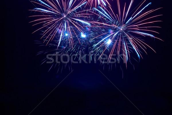 Bleu feux d'artifice noir ciel heureux lumière Photo stock © vapi