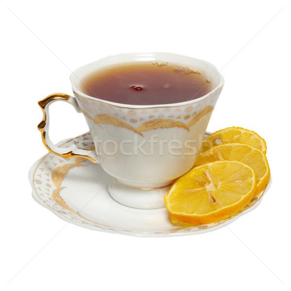 чайная чашка чай лимона изолированный белый здоровья Сток-фото © vapi