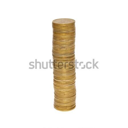 Stacks of golden coins isolated on white. Stock photo © vapi