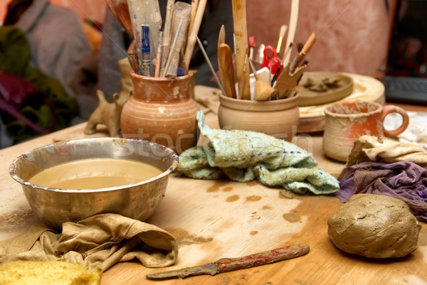 Stock photo: Handmade old clay pots with pencils