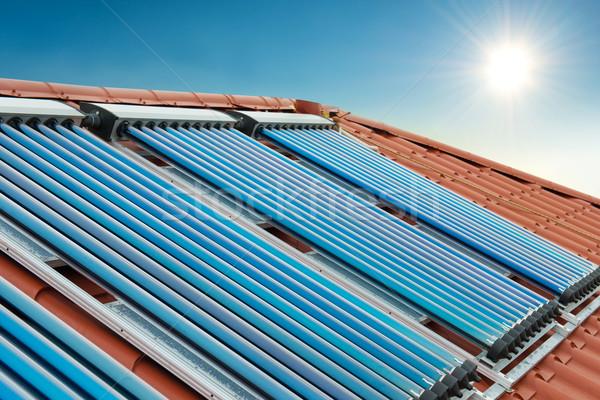 Vacuum collectors- solar water heating system Stock photo © vapi