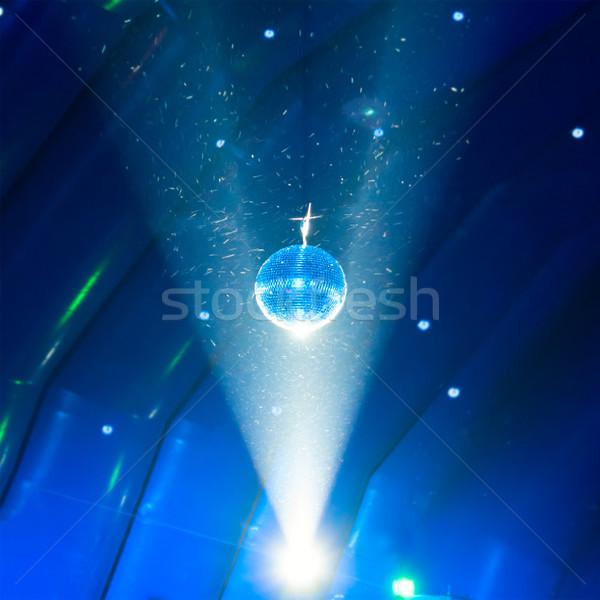 Disco ball licht Blauw achtergrond kunst disco Stockfoto © vapi