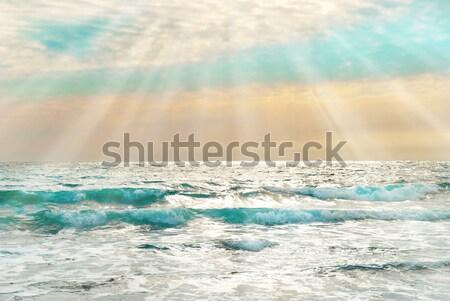 Sunset on the blue sea with waves Stock photo © vapi