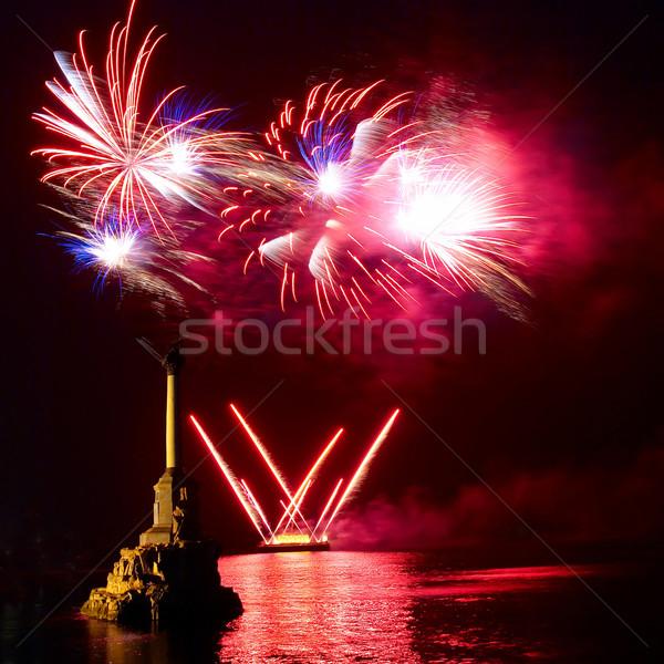Tűzijáték fölött víz buli boldog munka Stock fotó © vapi