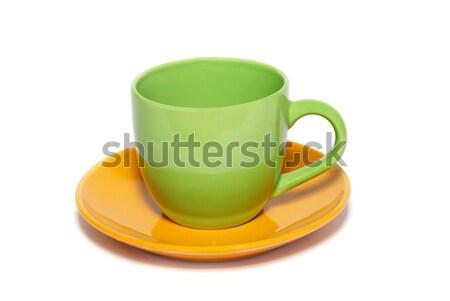 Xícara de chá pires isolado branco verde Foto stock © vapi