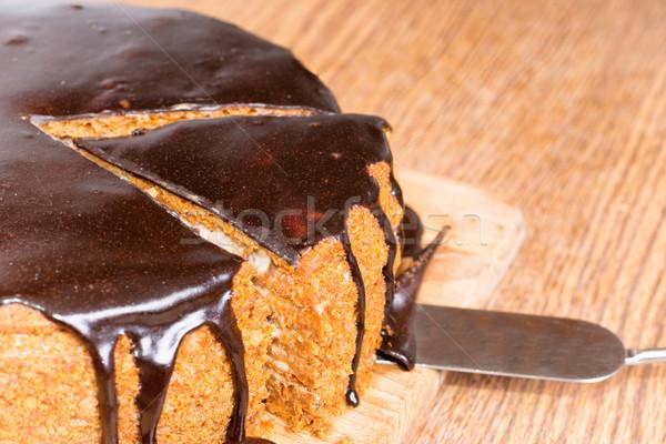 8898562 Sliced Chocolate Birthday Cake By Vapi Stock Photo