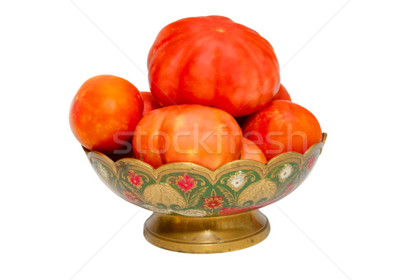 Tomatoes in painted plate isolated on white. Stock photo © vapi