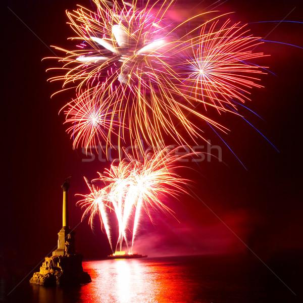 Fogos de artifício acima água festa feliz trabalhar Foto stock © vapi