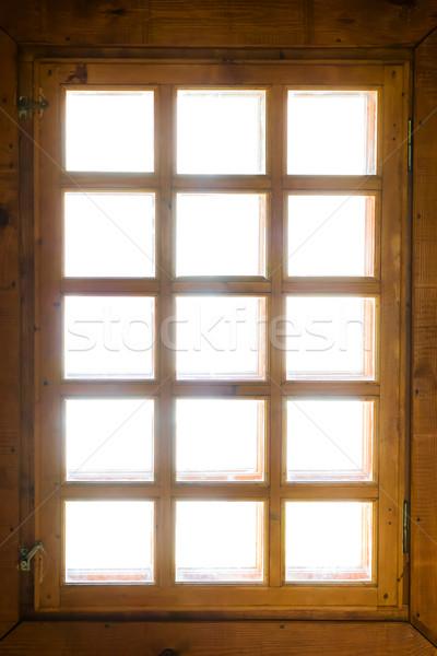 Wooden window with bars Stock photo © vapi