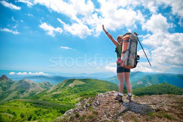 Young happy woman with backpack Stock photo © vapi