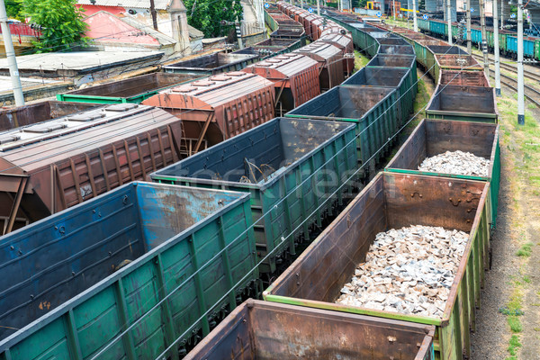 Many trains with cargo wagons Stock photo © vapi