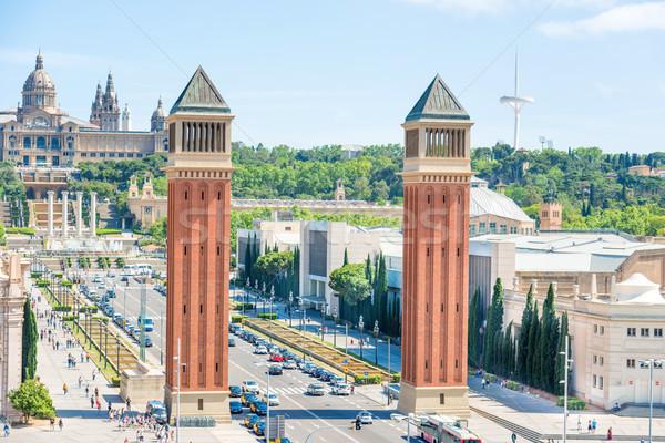 Veneziano torri Barcellona piazza costruzione urbana Foto d'archivio © vapi
