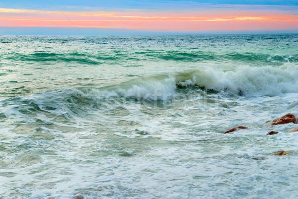 Foto stock: Ondas · mar · paisagem · grande · pôr · do · sol · céu