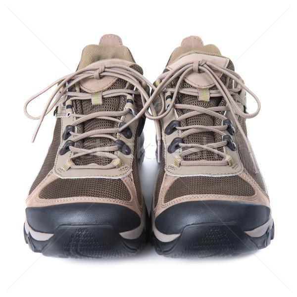 Paar bruin trainers witte geïsoleerd mode Stockfoto © vapi