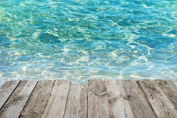 空っぽ 木製のテーブル 熱帯 青 水 表示 ストックフォト © vapi