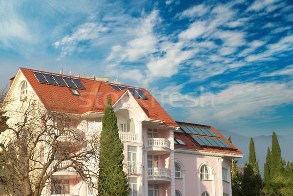 Modern house with solar panels Stock photo © vapi
