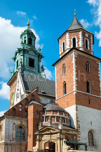Stock fotó: Katedrális · királyi · kastély · Krakkó · Lengyelország · égbolt