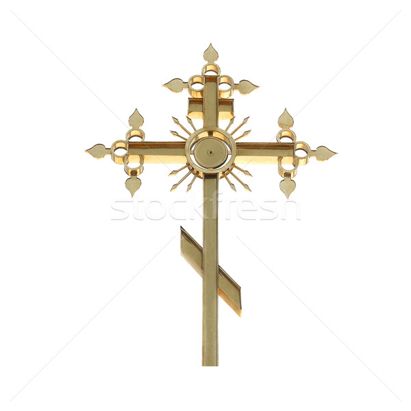 Stock photo: Golden orthodox cross