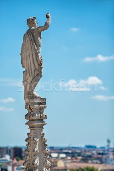 Telhado famoso milan catedral branco mármore Foto stock © vapi