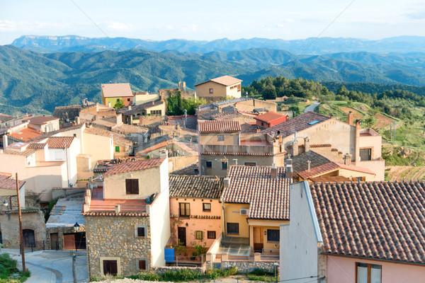 Küçük avrupa kasaba İspanya evler kırmızı Stok fotoğraf © vapi