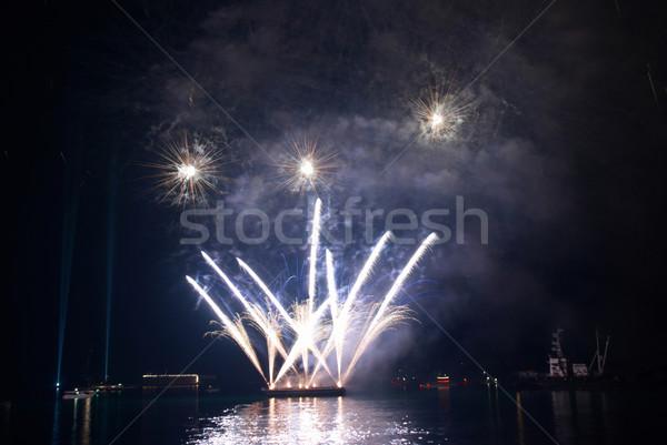 Belle feux d'artifice noir ciel eau travaux Photo stock © vapi