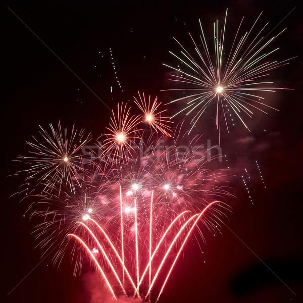 Belle feux d'artifice noir ciel fond art Photo stock © vapi