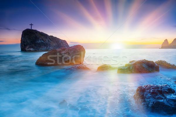 Naplemente tengerpart tenger kövek drámai égbolt Stock fotó © vapi