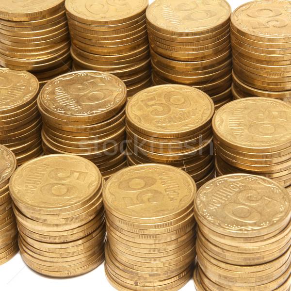 Boglya arany érmék izolált fehér pénz Stock fotó © vapi