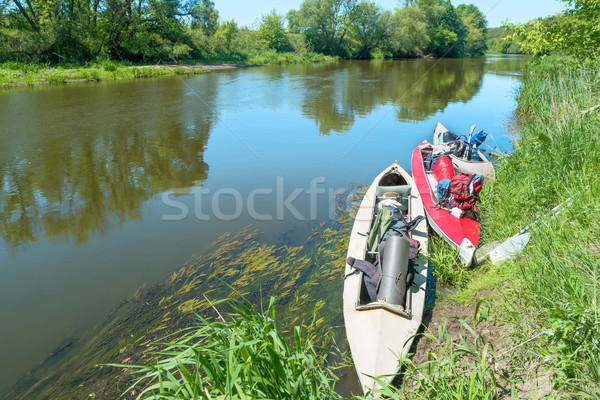 Stock photo: Two kayaks standing in water