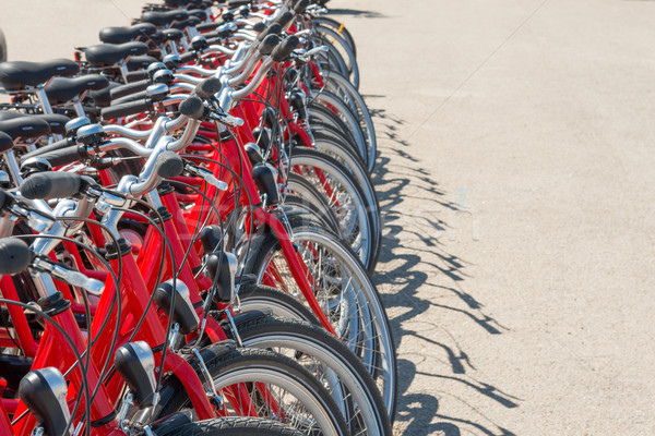 Group of red city bicycles Stock photo © vapi