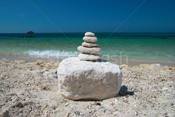 башни камней каменные Blue Sky морем воды Сток-фото © vapi
