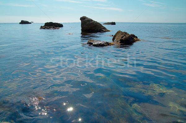 Zee landschap rotsen wateroppervlak wolken natuur Stockfoto © vapi