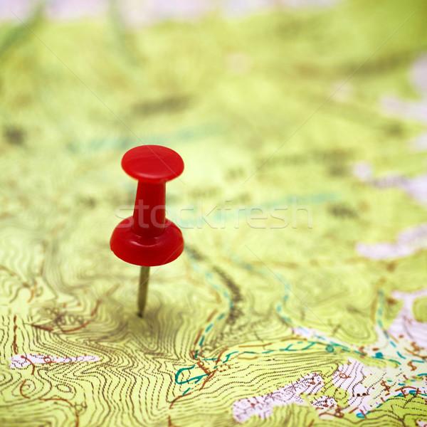 Stock fotó: Piros · pont · térkép · utazás · tervez · papír