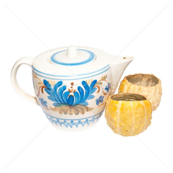 描いた ティーポット カップ 孤立した 白 食品 ストックフォト © vapi