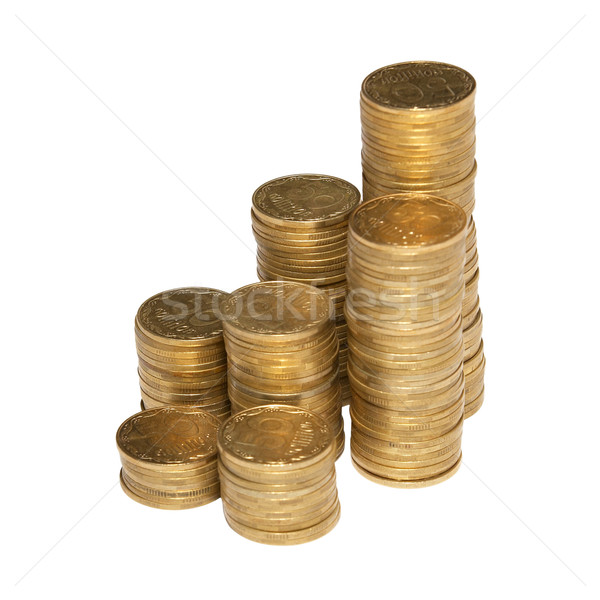 Coluna dourado moedas isolado branco negócio Foto stock © vapi