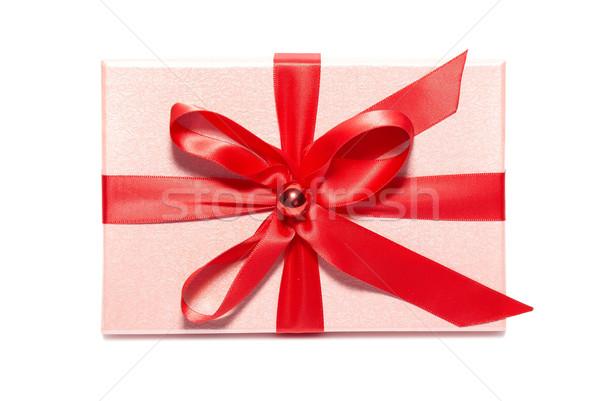Ajándék doboz rózsaszín izolált fehér papír buli Stock fotó © vapi