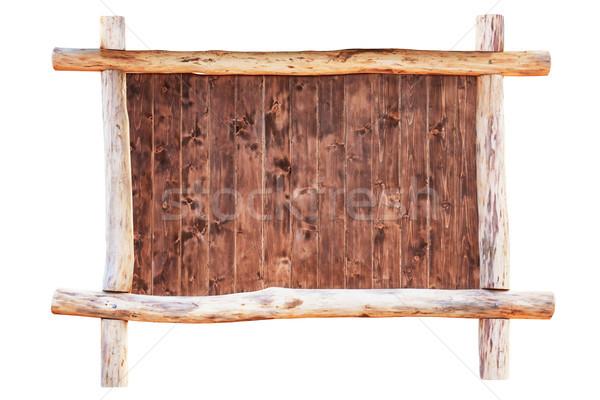 Fa üres keret izolált fehér tábla Stock fotó © vapi