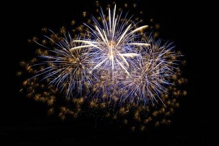 ünnep tűzijáték éjszaka fekete égbolt tűz Stock fotó © vapi