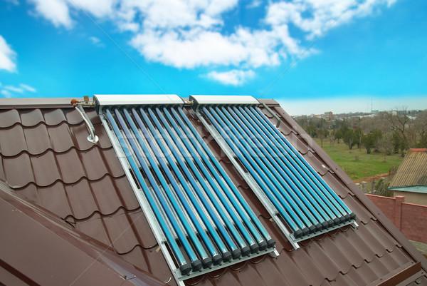 ストックフォト: 真空 · 太陽 · 水 · 加熱 · 家 · 屋根
