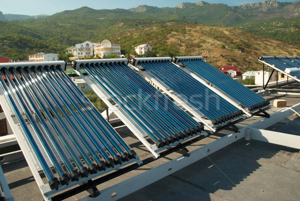 Foto stock: Vácuo · solar · água · aquecimento · casa · telhado