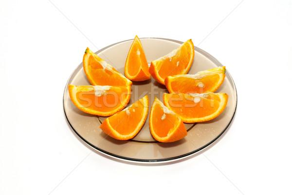 Narancs tányér izolált fehér étel természet Stock fotó © vapi