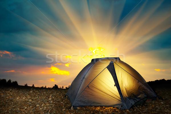 Amarelo camping tenda estrelas noite Foto stock © vapi