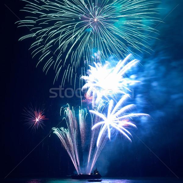 Stock fotó: Tűzijáték · fekete · égbolt · fény · háttér · füst