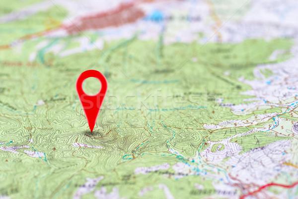 Stock fotó: Piros · pont · térkép · tő · absztrakt · utazás